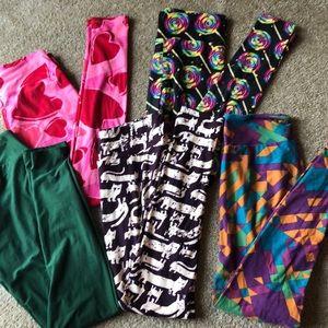 5 pairs One Size Lularoe leggings